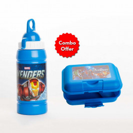 Avengers on the go sandwich lunch box With 500ml water bottle with loop (Combo Offer)