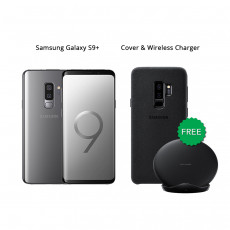 Samsung Galaxy S9 Plus 64 GB (Titanium Gray) With Samsung Wireless Charger & Alcantara Cover