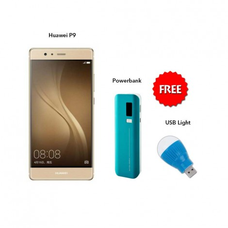 Huawei P9 32 GB (Gold) Huawei With Free With Free Powerbank 5000 Mah & USB Light