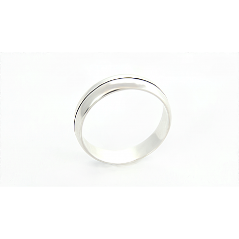 Silver diagonal grooved wedding band