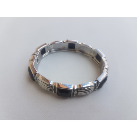 Square Black Stone Openable Bangle