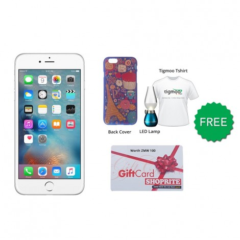Apple iPhone 6 64GB (Silver) With Free Back Cover + Led Bulb & Tigmoo Tshirt  + Shoprite Voucher