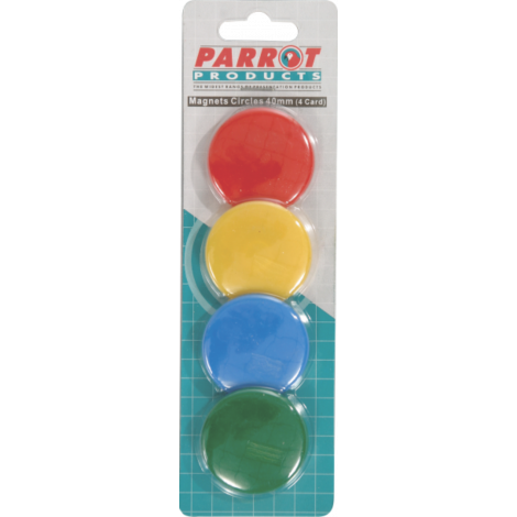 Parrot Magnets Circle (4 Per Card - Assorted, Size: 40mm)