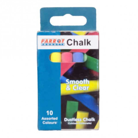 Parrot Chalk Dustless Box 10 Assorted