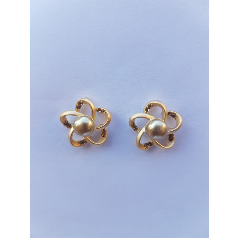 Solid Gold Flower Crystal Stud Earrings
