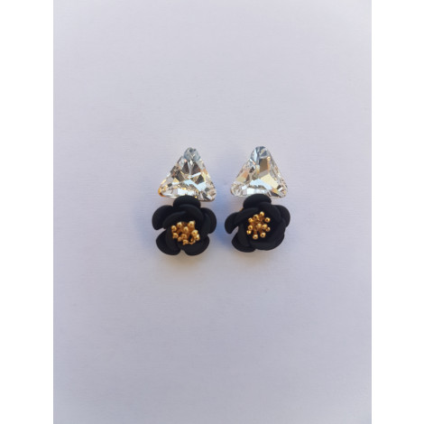 Crystal flower Stud Earrings (Black)