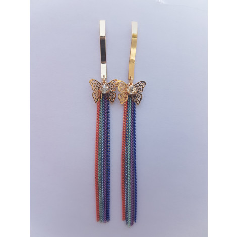 Butterfly multicolor long chain Earring
