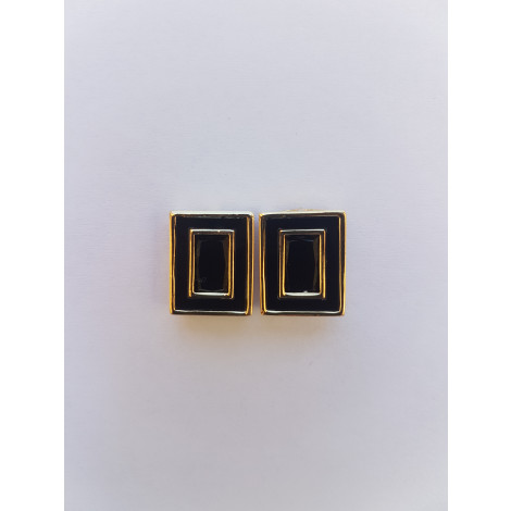 Rectangle Ear Studs (Black & Gold)