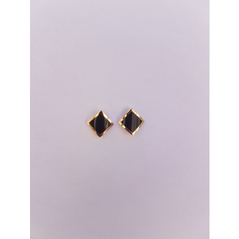 Geometric Square Stud Earrings (Black-Gold)