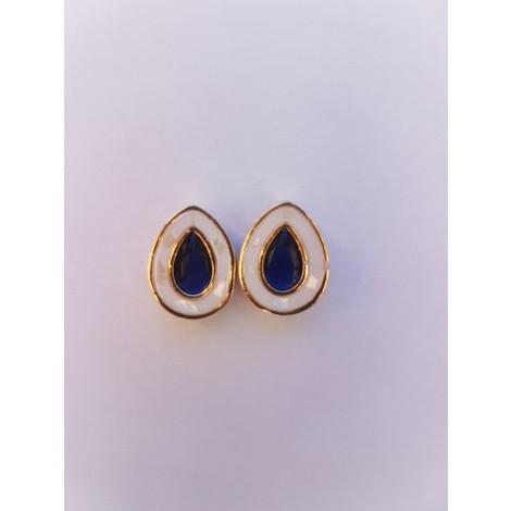 Water Drop Shape Earrings (Purple-White)