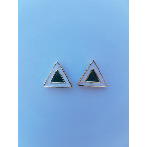 Triangle Ear Studs (Green-White)