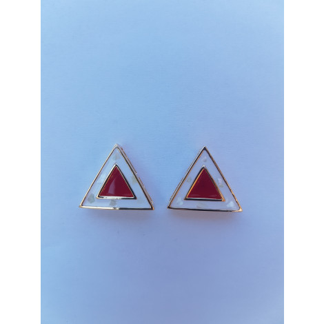 Triangle Ear Studs (Red-White)