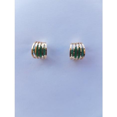 Geometric Crystal Stud Earrings (Green)