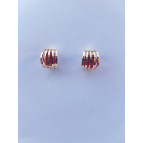 Geometric Crystal Stud Earrings (Red)