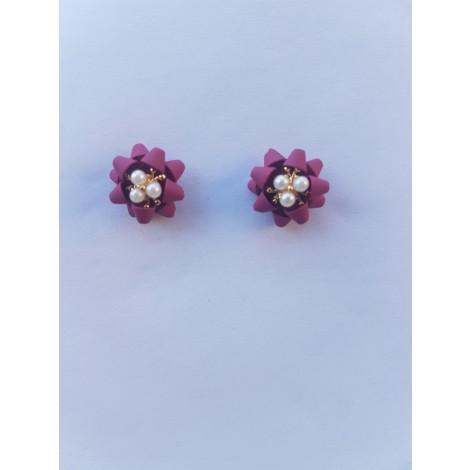 Flower Four Leaf Stud Earrings (Red)