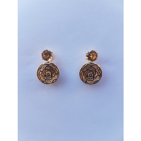 Crystal Hollow Rose Stud Earrings (Gold)