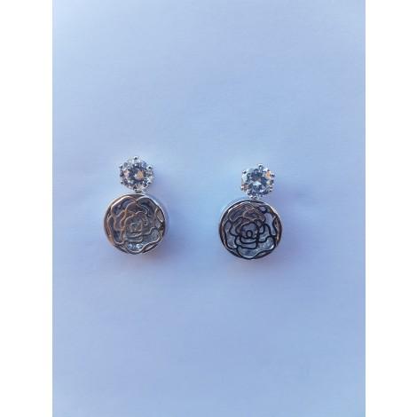 Crystal Hollow Rose Stud Earrings (Silver)