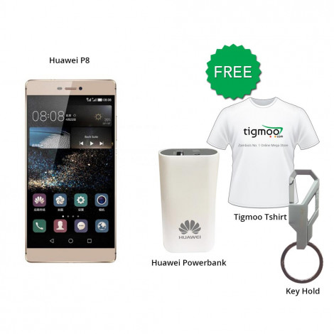 Huawei P8 64 GB (Prestige Gold) With Free Huawei Powerbank + Tigmoo Tshirt & Huawei Key Hold