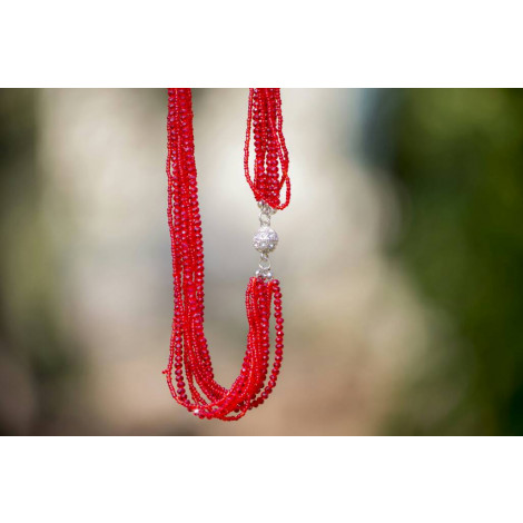 Seed Beads Tassel necklace (Red)