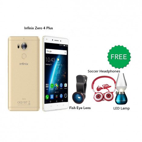 Infinix Zero 4 Plus 64 GB (Gold) With Free Fish Eye Lens, Soccer headphones & Led Bulb
