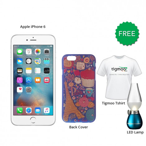 Apple iPhone 6 128GB (Silver) With Free Back Cover + Led Bulb & Tigmoo Tshirt