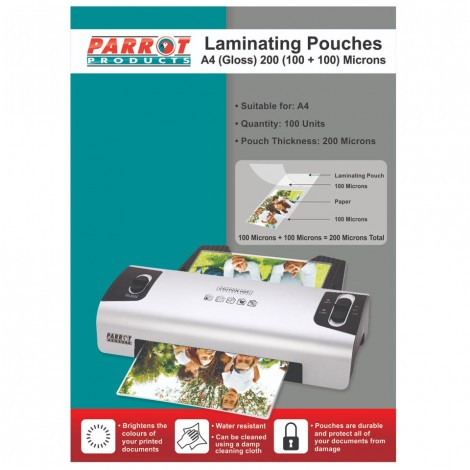 Laminating Pouches (A4, Gloss, 220x310mm, 200 (100+100) Microns, Box 100)