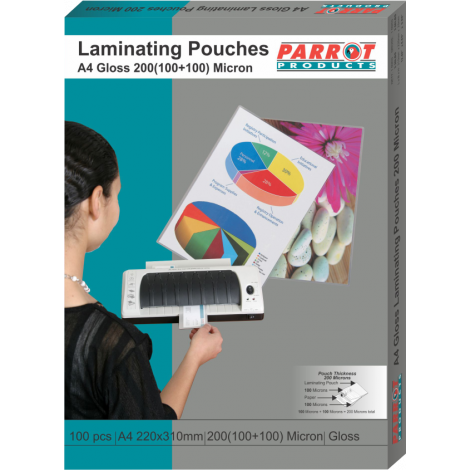 Laminating Pouches (A4, Gloss, 220x310mm, 160 (80+80) Microns, Box 100)