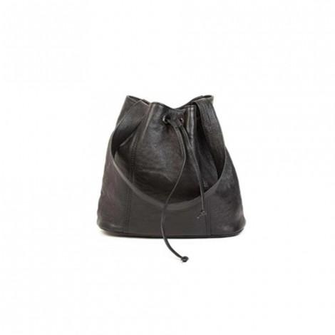 Mirelle Genuine Leather Drawstring Women Handbag Black
