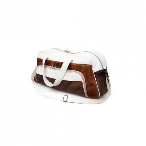 Mirelle Genuine White Nguni Leather Weekender Travel Bag