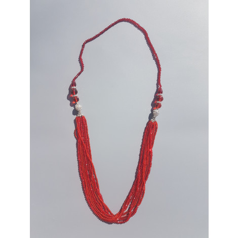 Bold Beaded Strands Necklace (Red)