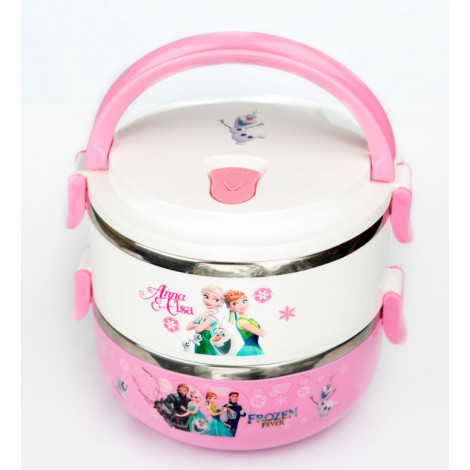 Frozen Elsa and Anna Two layered stainless steel insulated food warmer