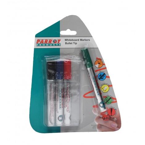 Parrot Whiteboard Marker Bullet Tip - Pouch Pack 4
