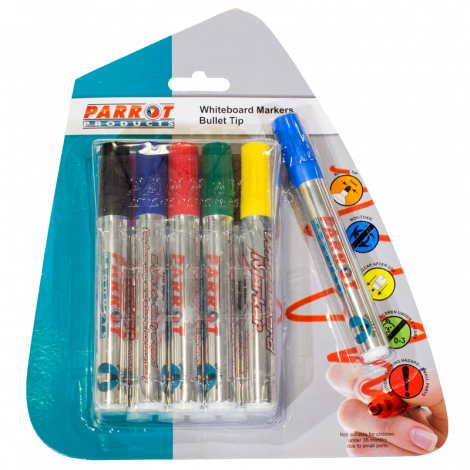 Parrot Whiteboard Marker Bullet Tip - Pouch Pack 10