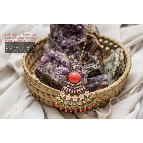 Resin Gems And Rhinestone Pendant Long Necklace (Red)