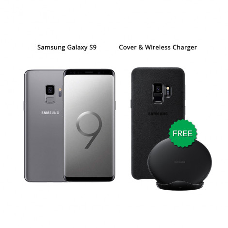 Samsung Galaxy S9 64 GB (Titanium Gray) With Samsung Wireless Charger & Alcantara Cover