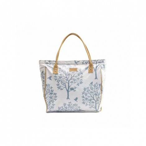 Emily Louise Shopper Bag - Bird on the Tree - White and Blue