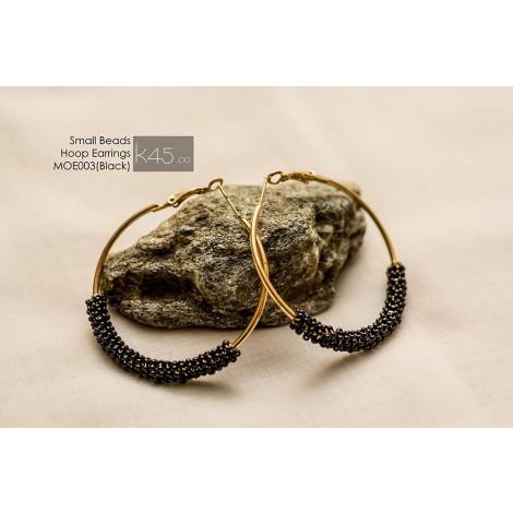 Small Beads Hoop Earrings (Black)