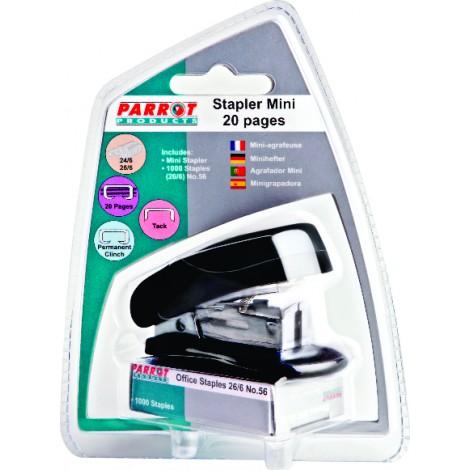 Plastic Mini Stapler & Staples (1000*26/6) (Black)