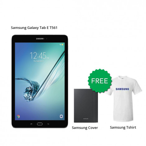 Samsung Galaxy Tab E T561 (9.6) 8 GB (Black) With Free Cover & Tigmoo Tshirt