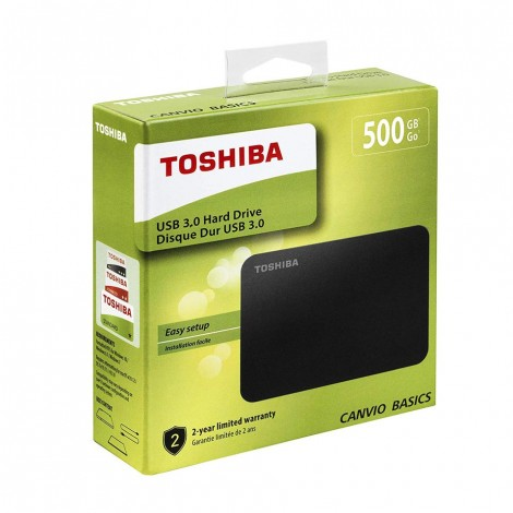 Toshiba HDTB405EK3AA 500GB Canvio Basics 2.5-Inch USB 3.0 Portable External Hard Drive - Black