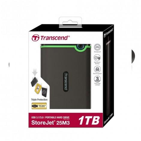 "Transcend StoreJet M3 1TB USB 3.0 External Hard Drive TS1TSJ25M3 2.5""/TSJ25M3/Rug/antishck Black"