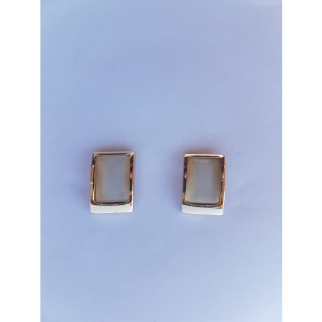 Fashion Rectangle Stud Earring (White-Gold)