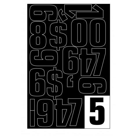 Parrot Vinyl Numerals Capitals 70MM (Black)