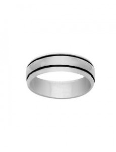 Silver Ring With Oxidized Lines On Sides