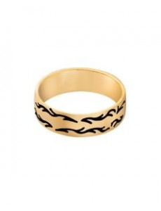 Wedding Band With Oxidized Flame Design
