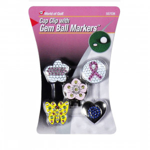 World Of Golf Cap Clip With Gem Ball Markers Ladies (557CM)