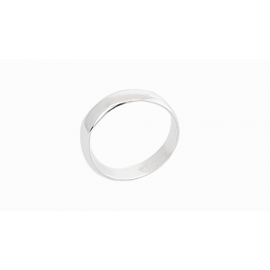 silver thick half round band