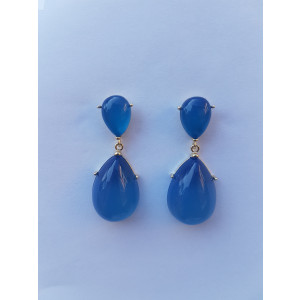 Crystal Water Drop Earrings (Light Blue)