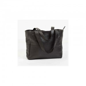 Mirelle Genuine Leather Classic Shopper Handbag with outside zip