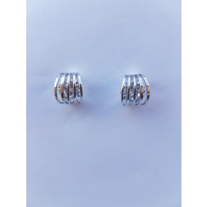 Geometric Crystal Stud Earrings (Silver)